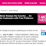 T-Mobile US、ポケモンGOの通信量を無制限に