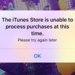 【解消済み】アプリを開くと「The iTunes Store is unable to process purchases at this time.」と表示される